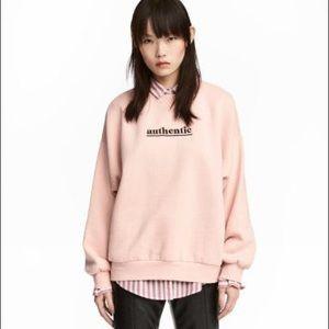 H&M Pink Embroidered Sweatshirt